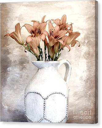 Lilies Pitcher Canvas Print by Marsha Heiken