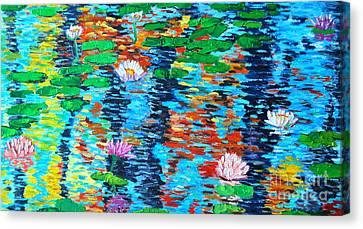 Lily Pond Fall Reflections Canvas Print by Ana Maria Edulescu