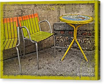 Lime Chairs Canvas Print by Joan  Minchak