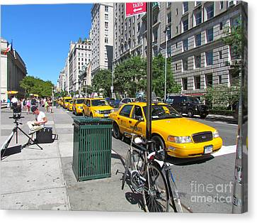 Lined Up For Business Canvas Print by Randi Shenkman