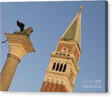 Serenisim Canvas Print - Lion And Campanile. Venice by Bernard Jaubert