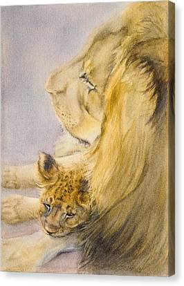 Canvas Print featuring the painting Lion And Cub by Bonnie Rinier