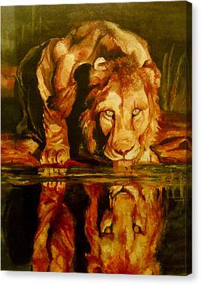 Lion At The Water Canvas Print by Jennifer Anderson