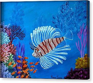 Canvas Print featuring the painting Lion Fish by Fram Cama