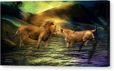 Lions Canvas Print - Lion Lovers by Carol Cavalaris
