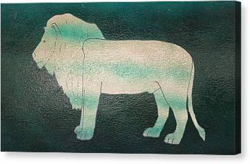 Lion On Vase Canvas Print by Gregory Smith