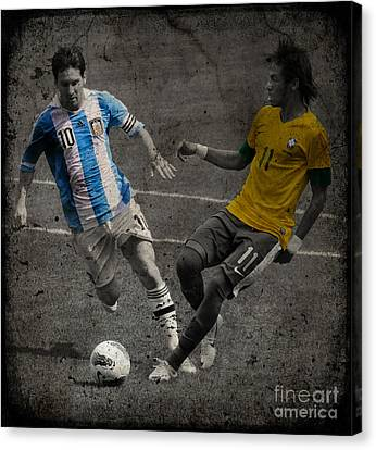 Clash Of Worlds Canvas Print - Lionel Messi And Neymar Clash Of The Titans Vii by Lee Dos Santos