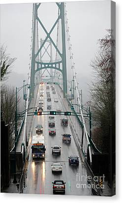 Lions Mist Lions Gate Bridge From Stanley Park Vancouver Bc Canvas Print by Andy Smy