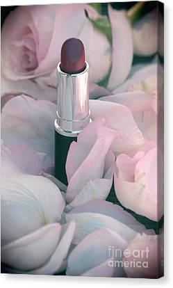 Lipstick And Roses Canvas Print by Sophie Vigneault