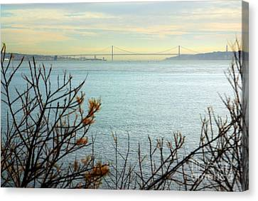 Lisbon On The Horizon Canvas Print by Carlos Caetano