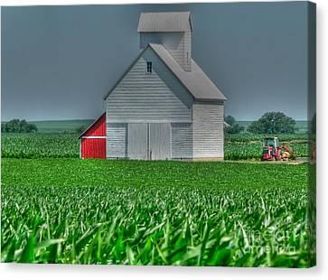 Illinois Barns Canvas Print - Little Barn On The Prairie by David Bearden