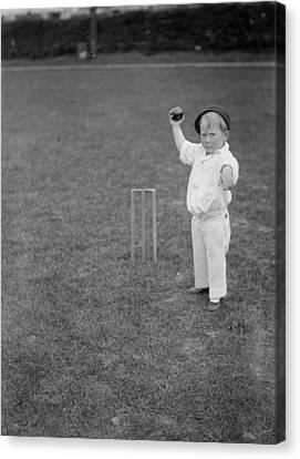 Little Boy Bowling Canvas Print by Fox Photos