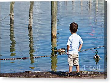 Little Boy By The Water Canvas Print