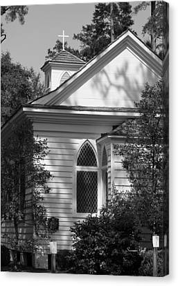 Little Chapel In The Woods In Black And White Canvas Print by Suzanne Gaff