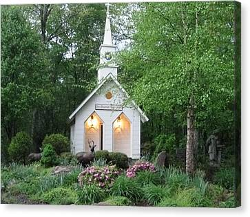 Little Church In The Mountains Canvas Print