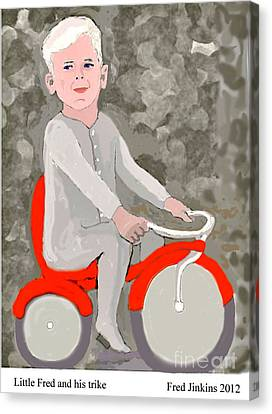 Little Fred And His Trike. Canvas Print by Fred Jinkins