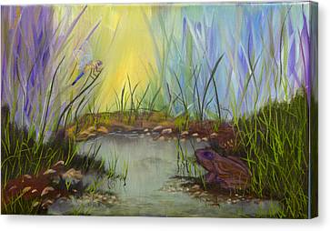 Canvas Print featuring the painting Little Frog Pond by J Cheyenne Howell