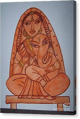 Little Ganesh And Parvati Canvas Print by Anu Darbha