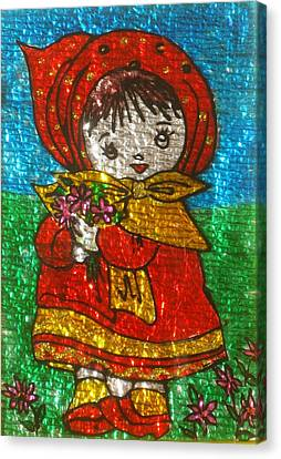 Little  Girl - Glass Painting Canvas Print by Rejeena Niaz
