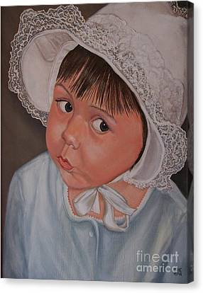 Little Girl With Lace Hat Canvas Print