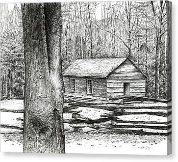 Canvas Print featuring the drawing Little Greenbrier School House by Bob  George