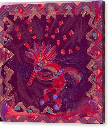 Little Kokopelli With Sash Canvas Print by Anne-Elizabeth Whiteway
