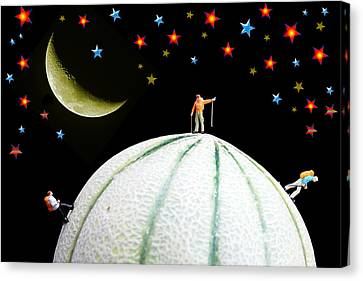 Little People Hiking On Fruits Under Starry Night Canvas Print by Paul Ge