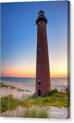 Little Sable Point Light Station Canvas Print by Larry Carr