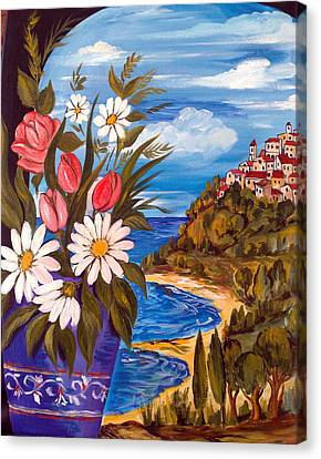 Canvas Print featuring the painting Little Village by Roberto Gagliardi