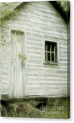 Little White Building Onaping Canvas Print by Marjorie Imbeau