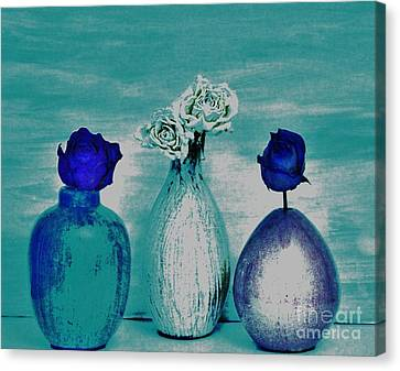 Littlle Vases Dried Roses Canvas Print by Marsha Heiken