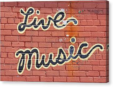 Live Music Written On A Wall Canvas Print by Riou