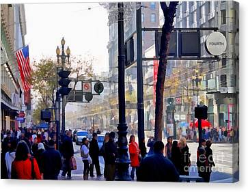 Lively Market Street In San Francisco . 7d4268 Canvas Print by Wingsdomain Art and Photography