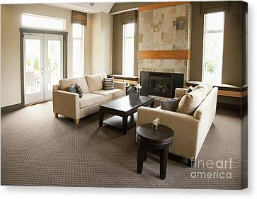 Living Room In An Upscale Home Canvas Print by Shannon Fagan