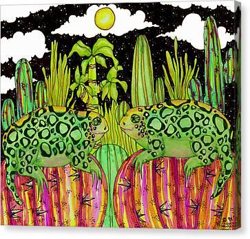 Lizards In Love Canvas Print by Dede Shamel Davalos