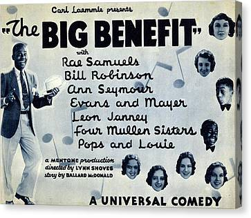Lobby Card For The Big Benefit Shows Canvas Print by Everett