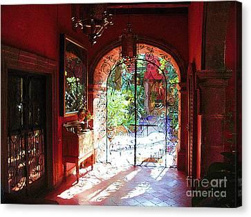 Canvas Print featuring the photograph Lobby Enhanced by John  Kolenberg