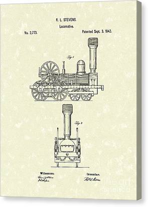 Locomotive 1842 Patent Art Canvas Print by Prior Art Design