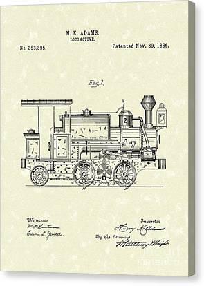 Locomotive 1886 Patent Art Canvas Print by Prior Art Design