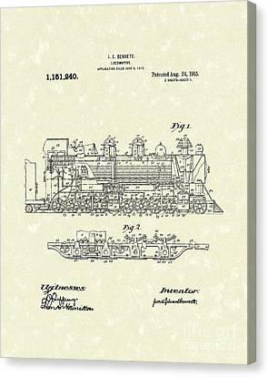 Locomotive 1915 Patent Art Canvas Print by Prior Art Design