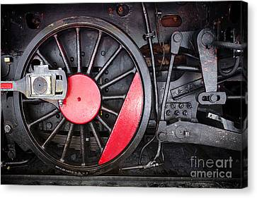 Locomotive Wheel Canvas Print by Carlos Caetano