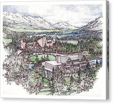 Canvas Print featuring the drawing Lodge by Andrew Drozdowicz
