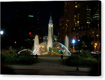 Logan Circle Fountain With City Hall At Night Canvas Print by Bill Cannon