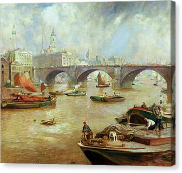 London Bridge From Bankside Canvas Print by Sir David Murray