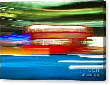 Canvas Print featuring the photograph London Bus Motion by Luciano Mortula