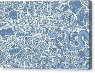 United Kingdom Canvas Print - London Map Art Steel Blue by Michael Tompsett