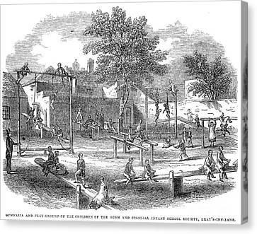 Schoolyard Canvas Print - London Playground, 1843 by Granger