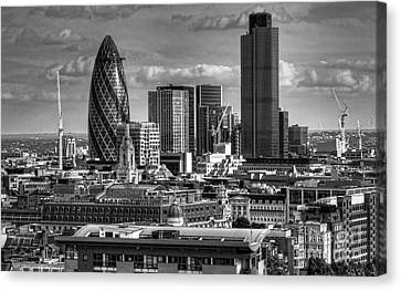 Canvas Print featuring the photograph London Skyline Bw I by Jack Torcello