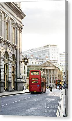 London Street With View Of Royal Exchange Building Canvas Print by Elena Elisseeva