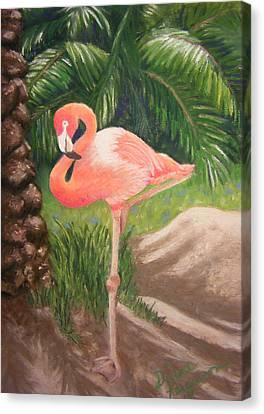 Canvas Print featuring the pastel Lone Flamingo by Diane Ferguson